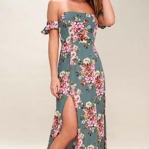 Primrose Path Sage Green Floral Print Maxi Dress